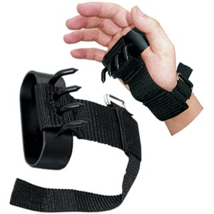 This is a true ninja weapon. The Ninja hand claw offers spikes that are curved. Ninja hand claw is made of black steel and comes with adjustable straps. The Ninja Hand claw is sold as a pair.  Important:  This item can not be shipped to states of California, Massachusetts, and New York or Canada. For other states, please check your local regulations. - $11.00