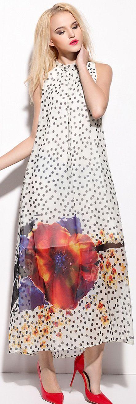 White Polka Dot Floral Maxi Dress