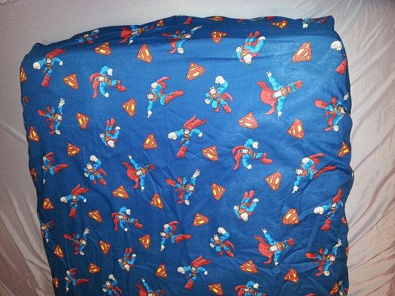 Superman Nursery accessory!  Pick your package: crib / toddler bed fitted sheet or changing pad cover and reusable wipes. Made to order on Etsy, $25.00