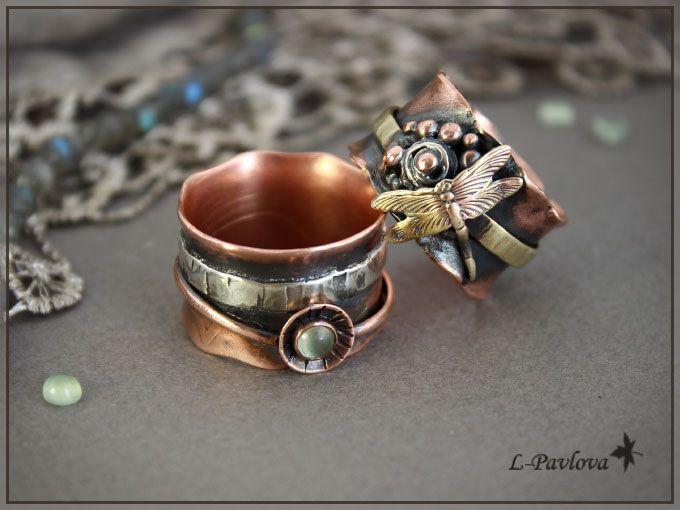 """Купить Медные кольца """"Осень в серебре"""" - кольцо, медное кольцо, l-pavlova"""