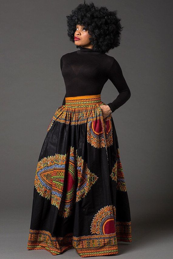 Black Dashiki maxi skirt African print skirt for women by Laviye