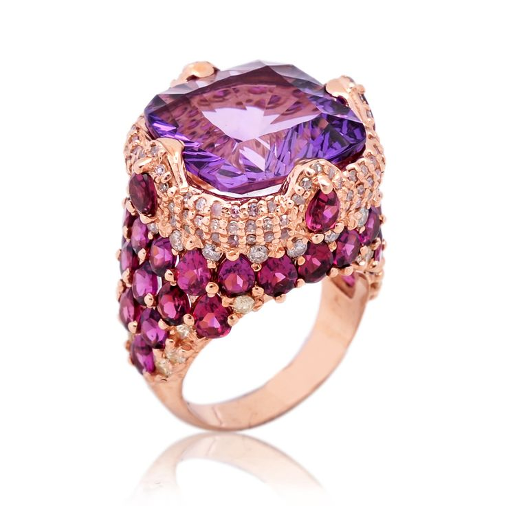 Amethyst concave cut,african amethyst with rhodolite and diamonds setted in sterling silver.