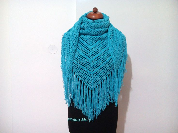 light blue crochet shawl,triangular shawl, summer shawl,cotton shawl,handmade shawl,triangle lacy scarf, lacy shawl with fringe by CrochetMaryGR on Etsy