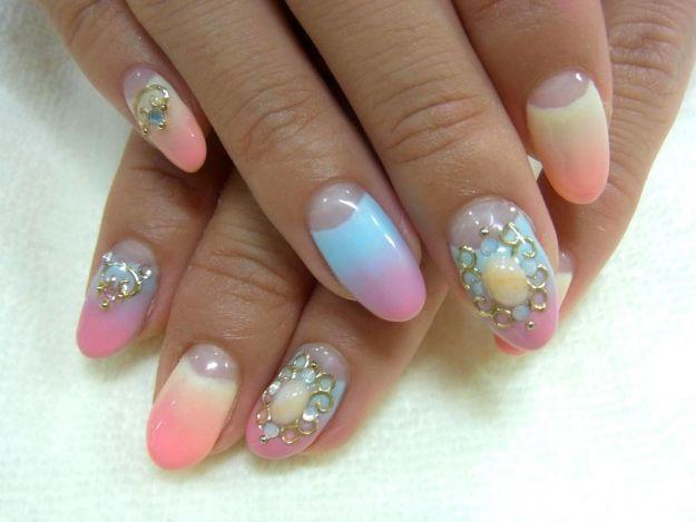 Яркий лунный маникюр с узором ::: onelady.ru ::: #nail #nails #nailart #manicure