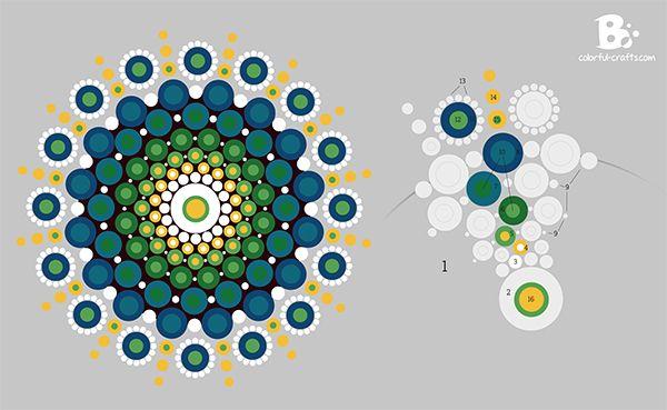 Mandala Stone Pattern - blue green #DIY #Tutorial - colorful-crafts.com