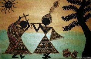 Radha Krishna Warli Painting