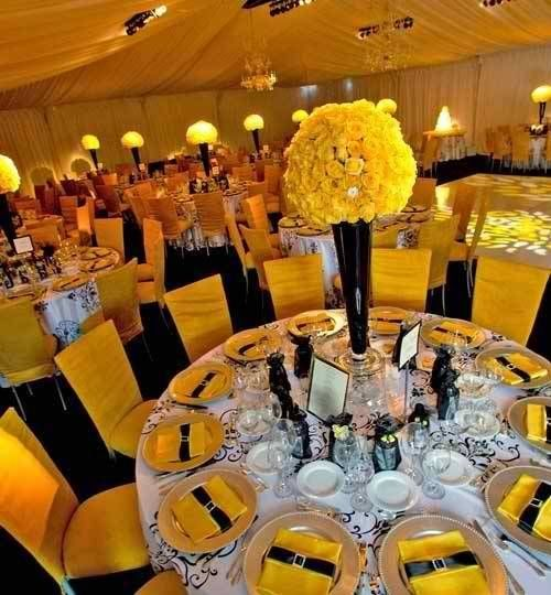 Charming White And Yellow Wedding Decorations | That Here Yellow And Black Themed  Weddings Can Be Stunning