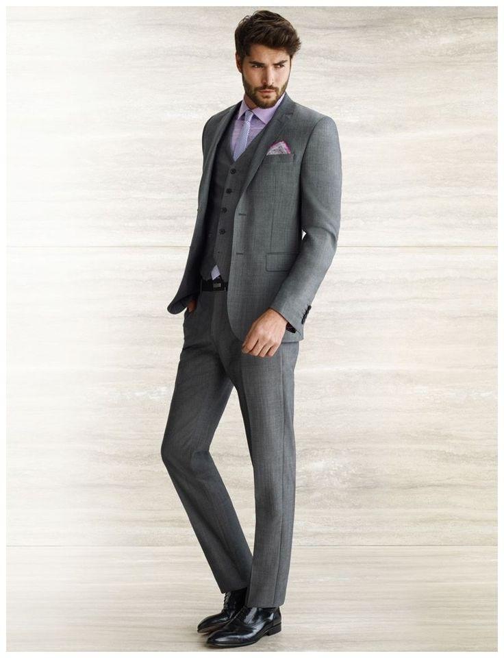 Men 39 s charcoal three piece suit light violet dress shirt for Charcoal suit grey shirt