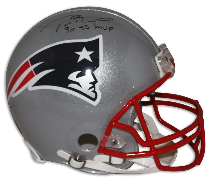 "Tom Brady New England Patriots Autographed Pro Line Helmet Inscribed ""3X SB MVP"""
