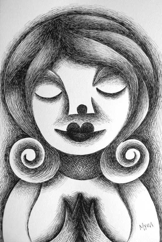 Chica meditando. Plumilla - tinta. Conéctate con tus emociones y sentimientos a través del arte.   Connect with your emotions and feelings through art. #dibujo #arte #art
