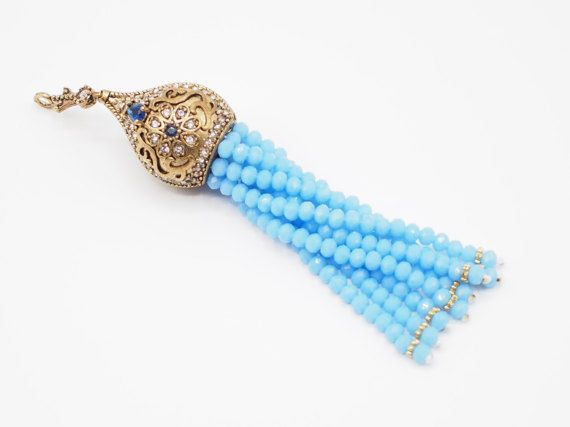 Tassel Pendant with Baby Blue Crystal Stone Jewelled Metal