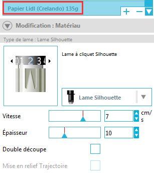 silhouette studio ajouter sauvegarder paramètres découpe