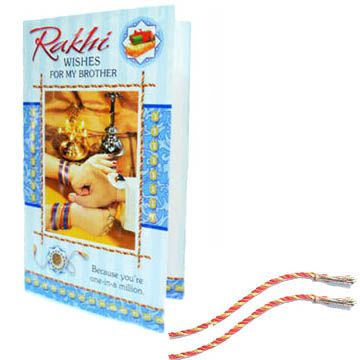 Rakhi wishes for your Brother with 2 Rakhis - INT http://www.festive-xpressions.com/product/RakhiCardINT3