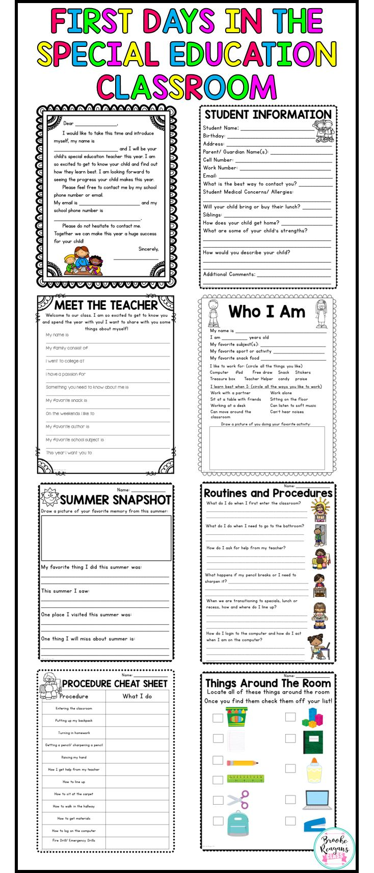 Survive the first couple of days in your special education classroom with these activities, notes home, handouts and printables! Will save you time and energy the first week of school!