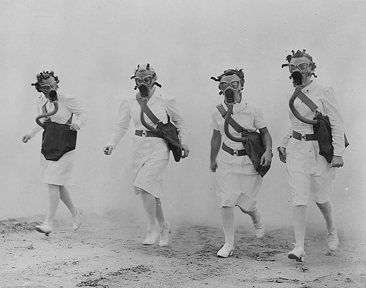 quote:  Nurses in a cloud of smoke, Illinois, 1942.