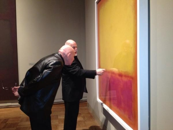 """Daniel Benzali (Mark Rothko in our production of """"Red"""") explores the new Rothko exhibit at the Portland Art Museum with the exhibit's curator."""