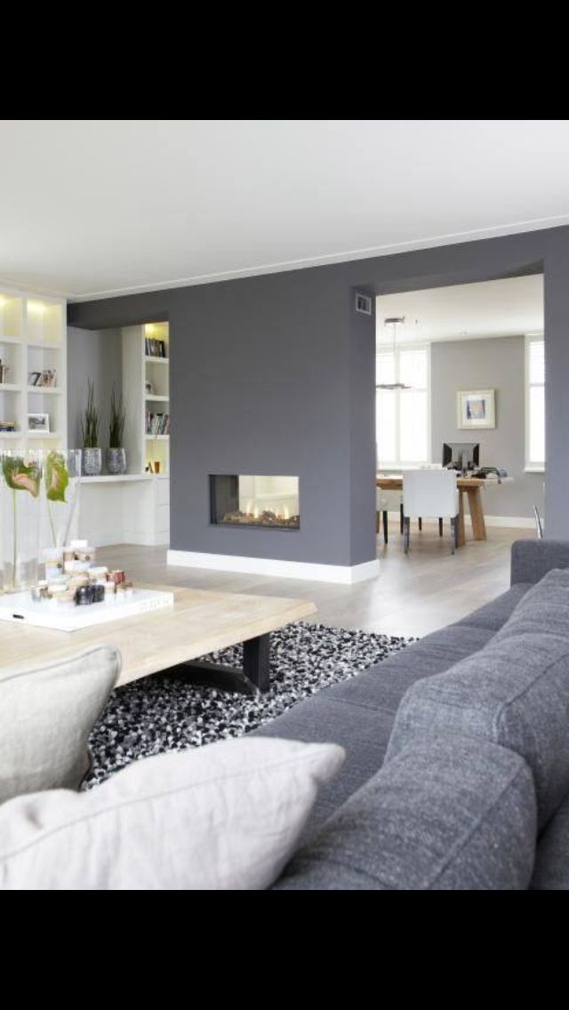 Fireplace and grey walls