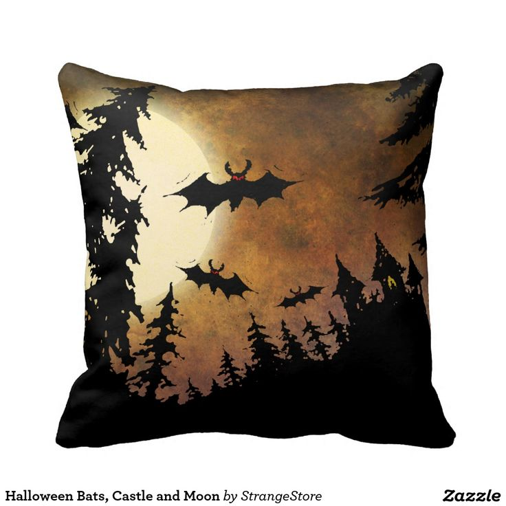 Halloween Bats, Castle and Moon Throw Pillows from #StrangeStore