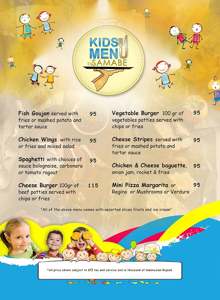 kids menu by Samabe