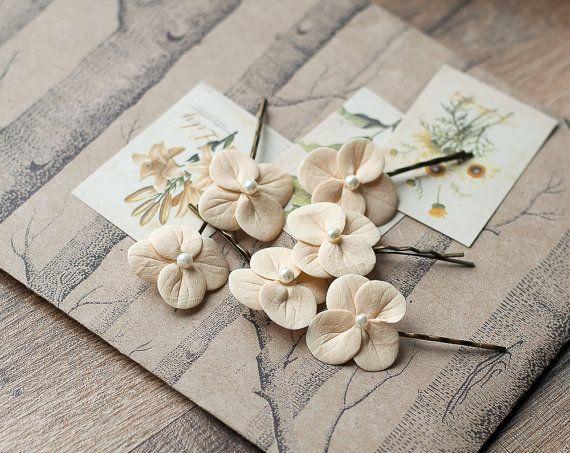 Beige hair clips  cream hair flowers  hydrangea by GentleDecisions
