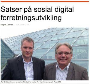 Morten Myrstad og Per Christian Eggen står bak nyetableringen The New Company. Forretningsidéen er å bistå næringslivet med digital og sosial forretningsutvikling.