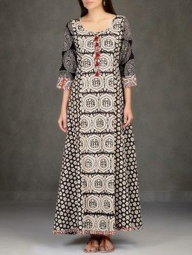 Black-Beige Natural Dyed Ajrakh-Printed Flared Cotton Long Dress with Pockets