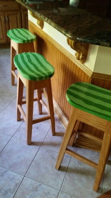 Watermellon stools my talented husband made...
