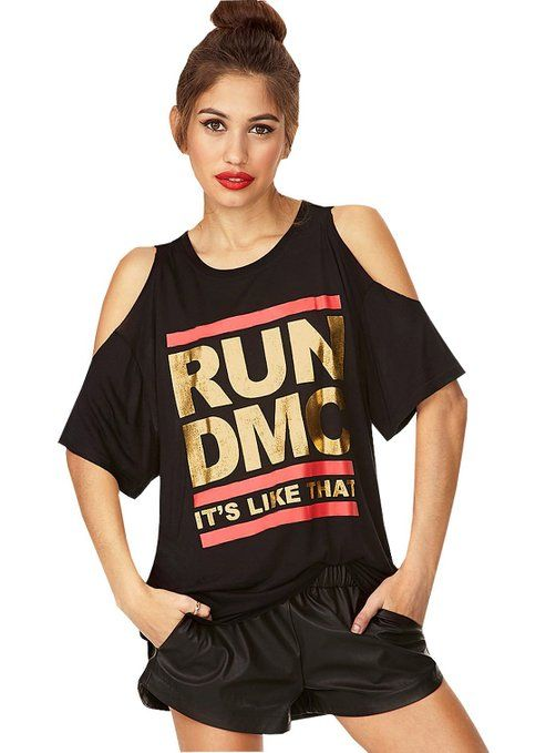 Stylishelf Women's Black RUN DMC Print Off Shoulder Tee Shirt Top (S, Black)