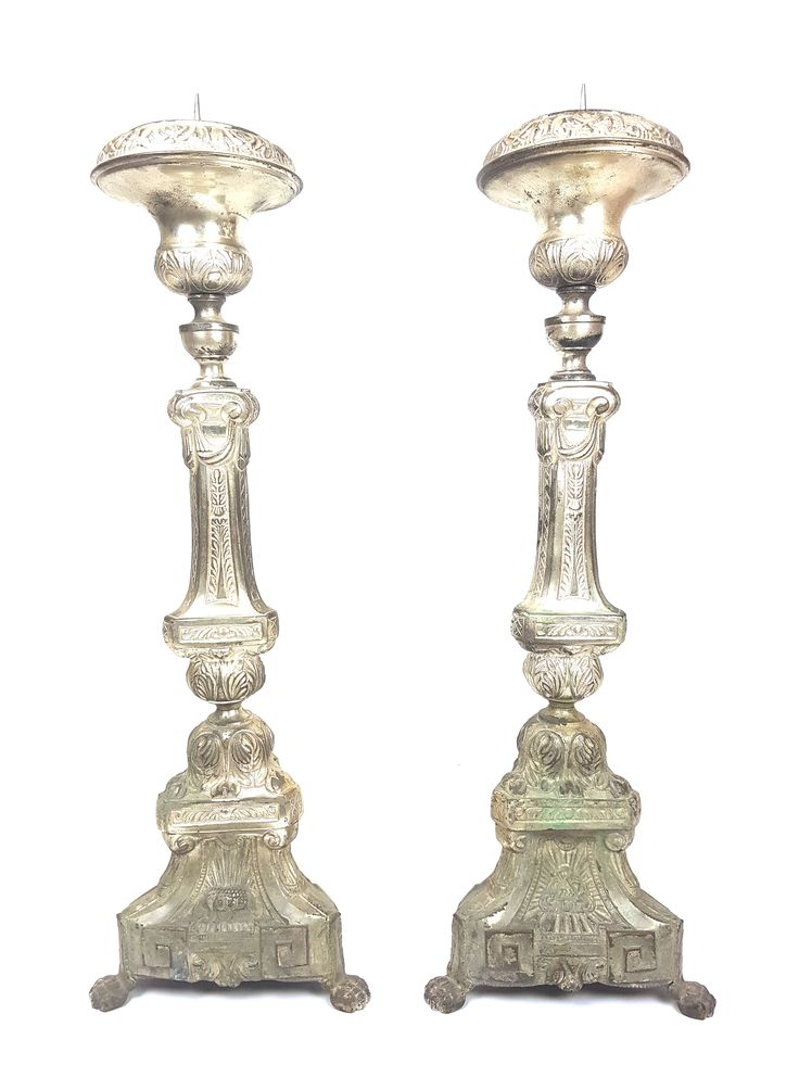 "French 19th Century Pair Altar Candlesticks 31"" Tin Spike Candle Holder Antique Gothic Church Liturgical Religious Ornate"