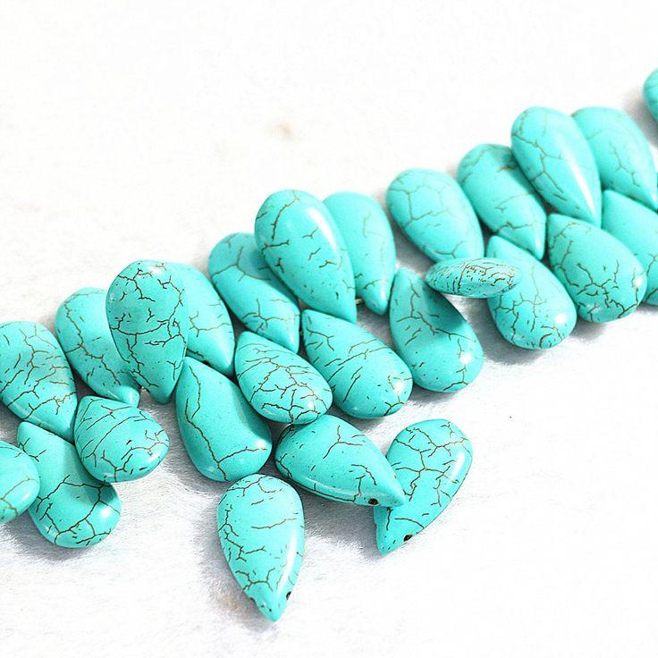 Мода Бирюзовый камень 15x30 мм плоским water drop новая мода diy ювелирных бесплатная доставка loose бусы 15 B291