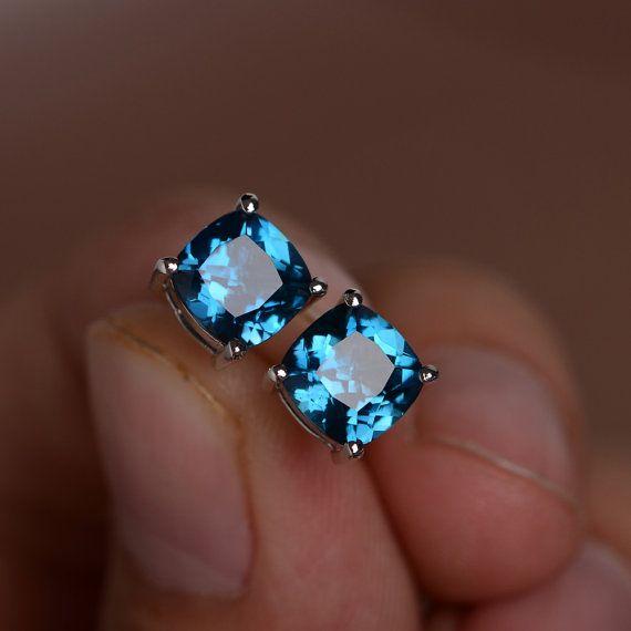 London Blue Topaz Earrings Stud Sterling Silver by KnightJewelry
