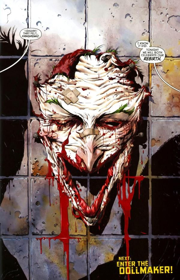 DC new 52 semi-spoiler.. Joker has no face any more.. Or he does.. But it looks like he doesn't.. #readcomics
