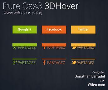 création de boutons de partages sur les réseaux sociaux en Css3 3D Hover, avec un trés jolie résultat.
