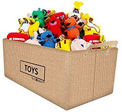X-Large Jute Storage Bin Toy Basket 20x12x11 inches (1-Pack) [Multi-packs available] Collapsible Box Chest Organizer, Reversible Design, Water-resistant, Great for Living Room, Kitchen, Kids Baby Room