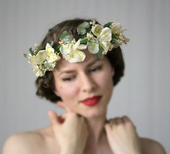 "1920s Bohemian Crown, Ivory Floral Bridal Wreath Wedding Flower Headpiece Vintage Cream Spring Fascinator Hair Accessory - ""Springtime Love"""