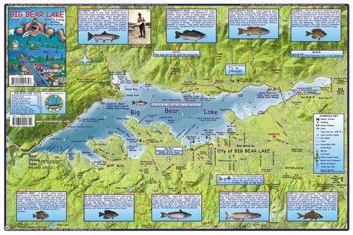 Big Bear Lake Fishing Boating Recreation Waterways Map California | eBay