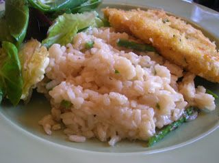 Chicken Milanese, Asparagus Risotto, Mixed Greens with Fresh Lemon ...