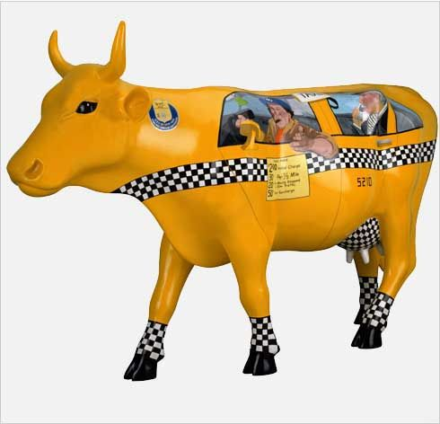 Taxi Cow -  Artists:T. Schwartz, A. Erhardt, I. Richards - Sponsor:	Young & Rubicam New York -  Cow Parade New York, NY 2000