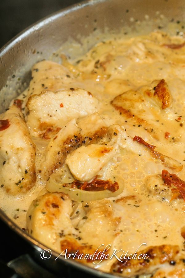 Chicken with Creamy Sun-Dried Tomato Sauce, ready in less than 30 minutes! artandthekitchen.com