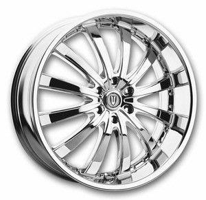 Versante 219 12-Spoke 24x9.5 Chrome Low - 4 Custom Rims and Tires