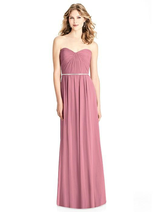 Jenny Packham Bridesmaid Style JP1008. Jenny Packham Bridesmaid Style JP1008 Full length strapless lux chiffon dress w/ pleated bodice and sweetheart neckline. Stacked mirror bead trim at natural waist.