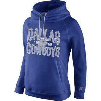 Women's Dallas Cowboys Nike Royal Blue Rewind Rally Funnel Hoodie  Size M