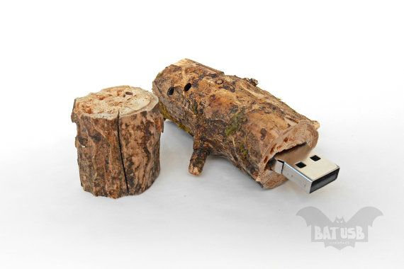 BAT™ 32GB USB flash drive - Memory Stick Fat stump - Pen drive - Raw wood dark forest - Weird usb - Unique design - Handmade raw wood plant - Product Dimensions 8.3cm Height x 2.6cm Diameter by Think4HandmadeArt, €73.00