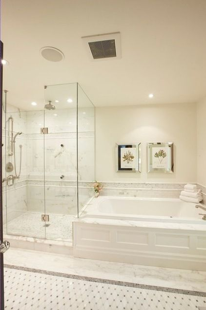 Master bath with large glass shower & soaker tub for two