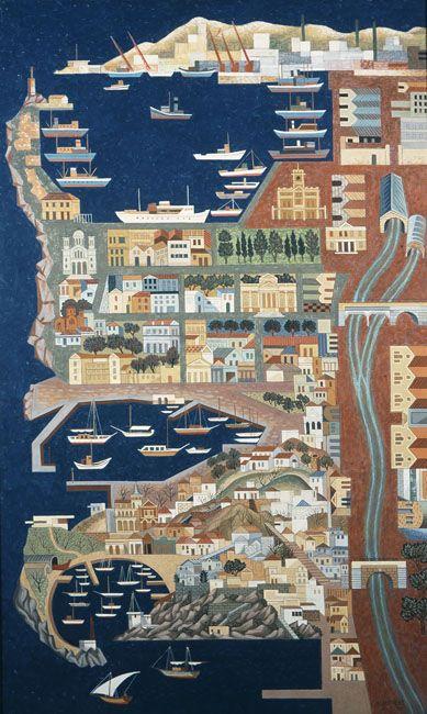 Asteriadis Aginor (1898-1977) Piraeus, 1973, Αστεριάδης Αγήνωρ (1898 - 1977) Πειραιάς, 1973 Αυγοτέμπερα σε ξύλο , 202 x 122 εκ.