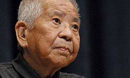 """Tsutomu-Yamaguchi  A Nagasaki resident, he was in Hiroshima on business for Mitsubishi Heavy Industries when it was bombed at 8:15 am August 6, 1945. The next day, he returned to Nagasaki & despite his wounds returned to work on August 9 when the 2nd bomb dropped. He was recognized in '57 as  """"Hibakusha""""(explosion-affected), for Nagasaki. It wasn't until 2009 that Japan officially recognized his presence in Hiroshima three days earlier. He died at 93 of stomach cancer on Jan 4, 2010."""