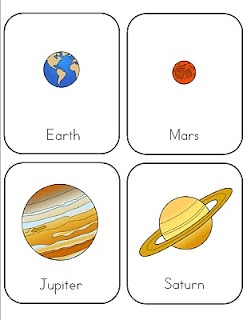 Preschool space lesson, with printables