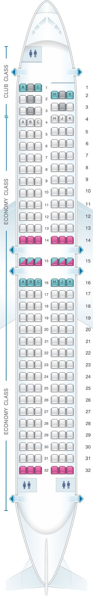 Seat Map Air Transat Boeing 737-800 Canada