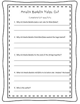 Amelia Bedelia Helps Out Comprehension questions free