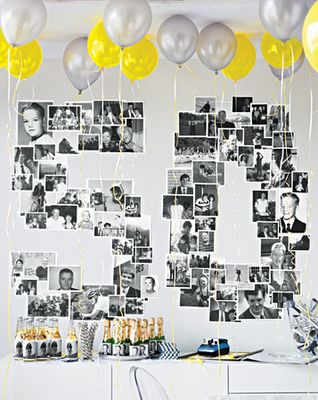 great birthday party wall decor- whatever age made out of black and white photos of the birthday boy/girl!